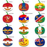 Set pumpkins for Halloween as a flags of the world. Vector illustration Royalty Free Stock Photo