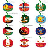 Set pumpkins for Halloween as a flags of the world. Vector illustration Stock Image