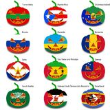 Set pumpkins for Halloween as a flags of the world. Vector illustration Stock Photography
