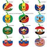 Set pumpkins for Halloween as a flags of the world. Vector illustration stock illustration