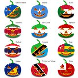 Set pumpkins for Halloween as a flags of the world. Vector illustration vector illustration