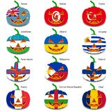 Set pumpkins for Halloween as a flags of the world. Vector illustration Royalty Free Stock Images