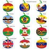 Set pumpkins for Halloween as a flags of the world. Vector illustration royalty free illustration