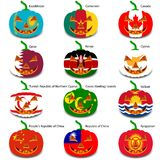 Set pumpkins for Halloween as a flags of the world Royalty Free Stock Photography