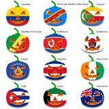 Set pumpkins for Halloween as a flags of the world. Vector illustration Royalty Free Stock Photography
