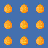 Set of pumpkins for Halloween with different facial expressions. Jack-o-Lantern. Vector illustration Stock Image