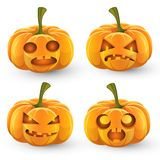 Set of pumpkins for Halloween. Set of four orange pumpkins for Halloween, jack-o-lantern with burning eyes vector illustration