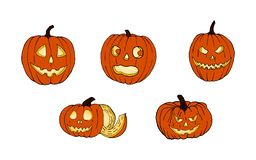 Set of pumpkins for Halloween. Funny faces. Autumn holidays. Vector. royalty free stock images
