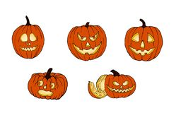 Set of pumpkins for Halloween. Funny faces. Autumn holidays. Vector. royalty free stock photos