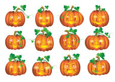 Set pumpkins for Halloween. Isolate on white vector illustration