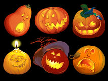 Set pumpkins for Halloween Royalty Free Stock Image