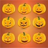 Set pumpkins for Halloween Stock Photos