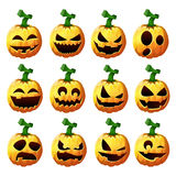 Set pumpkins for Halloween. Vector illustration Set pumpkins for Halloween stock illustration