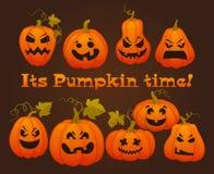 Set pumpkins for Halloween. Vector illustration Stock Image