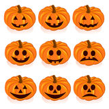 Set pumpkins for Halloween. On white background Stock Images