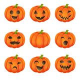 Set pumpkins for Halloween. On white background royalty free illustration