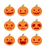 Set pumpkins icons for Halloween. On white background Stock Photography
