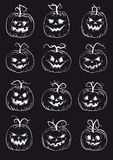 Set of pumpkins isolated on black background Royalty Free Stock Photography