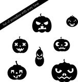 Set of pumpkins with scary faces royalty free illustration