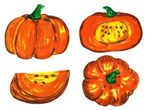 Set of pumpkins - slices, halves and top view. raster illustration, felt-tip pen drawing