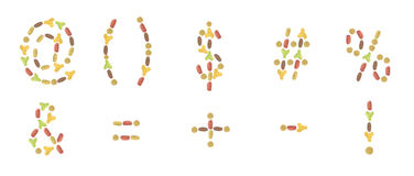 A set of punctuation marks composed of pet food (cat or dog) lab. Punctuation marks of dry cat and dog food,  on white background Stock Photos