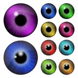 Set of  pupil of the eye, eye ball, iris eye. Realistic vector illustration isolated on white background. Stock Photo