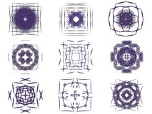 Set of purple abstract fractal pattern. On a white background Royalty Free Stock Photography