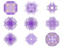 Set of purple abstract fractal pattern. On a white background Stock Photo