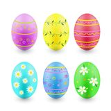 Set of painted Easter eggs isolated on white Royalty Free Stock Images