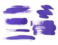 Set of purple brush strokes of acrilic paint as sample of art product Stock Photo