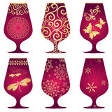 Set of purple Christmas glasses Stock Photos
