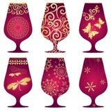 Set of purple Christmas glasses Stock Photos