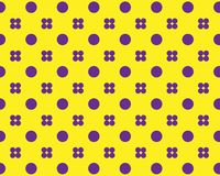 Set of purple circles in a symmetrical pattern on a yellow background stock illustration