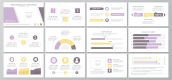 Set purple elements for multipurpose presentation template slides with graphs and charts. Leaflet, corporate report. Vector template for multipurpose Royalty Free Stock Photo