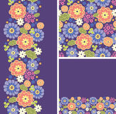 Set of purple flowers seamless pattern and borders Royalty Free Stock Image