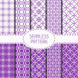 Set of purple geometric seamless pattern with Royalty Free Stock Photography