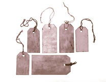 Set of purple hang tags Royalty Free Stock Photos