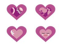 Set of 4 purple hearts Royalty Free Stock Image