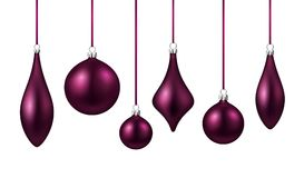 Violet isolated Christmas balls set. Royalty Free Stock Image