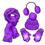 Set of purple knotted scarf, hat, ear muffs and mittens Royalty Free Stock Images