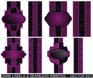 Set of purple labels and seamless ribbons Stock Images