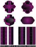 Set of purple labels and seamless ribbons Royalty Free Stock Photography