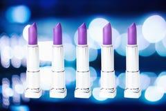 Set of purple lipstick Stock Photos