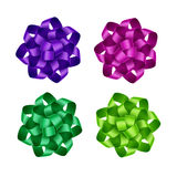 Set of Purple Pink Green Ribbon Bows Isolated Royalty Free Stock Photos