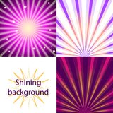 Scroll on a background of sunlight. Set of purple  shining backgrounds with sun rays and stars Stock Photography
