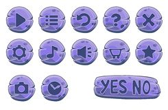 Set of purple stone round buttons Royalty Free Stock Photos