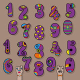 Set of Purple Vintage Numerals Royalty Free Stock Images