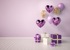 Set of purple, violet and golden glossy 3d realistic balloons in heart shape. Valentine`s Day or wedding day background. Set of purple, violet and golden glossy Stock Images