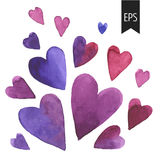Set of purple watercolor hearts. Royalty Free Stock Photo