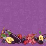 Set purpur i menchii owoc i warzywo na purpurowym tle Zdjęcie Stock